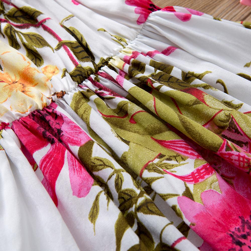 HTB1IqjxjndYBeNkSmLyq6xfnVXaN - Baby Girl Clothes Lace Up Floral Printed Cotton Children Toddler Girls Dresses Summer 2018 Casual Princess Teenage Kids Dress