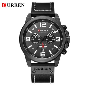 Image 2 - Mens Watches 2018 Luxury Brand CURREN Reloj Hombre Casual Quartz Leather Wristwatch Chronograph and Date Window Waterproof 30M