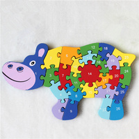 3D Wooden Horse And Hippo Puzzle Toys Children Kid English Letters And Numerals Learning Education ABC