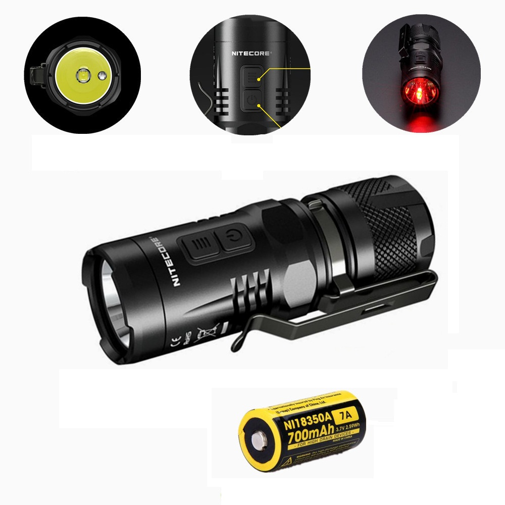 Nitecore EC11 CREE XM-L2 U2 900 Lumens White and Red LED Flashlight W/18350 Rechargeable Battery Tactical Flashlight for Camping richfire sf ct1 900lm white vehicle charging flashlight w cree xm l2 u3 black silver 1x16340