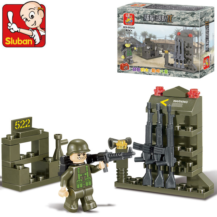 Free shipping educational toy 3d plastic army small arsenal model building kits assembled block children creative