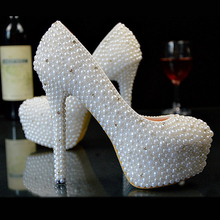Custom White Pearls Women Wedding Shoes Heels Sexy High Heels Bridal Shoes White Ladies Party Shoes Size Eu34-45    No.007