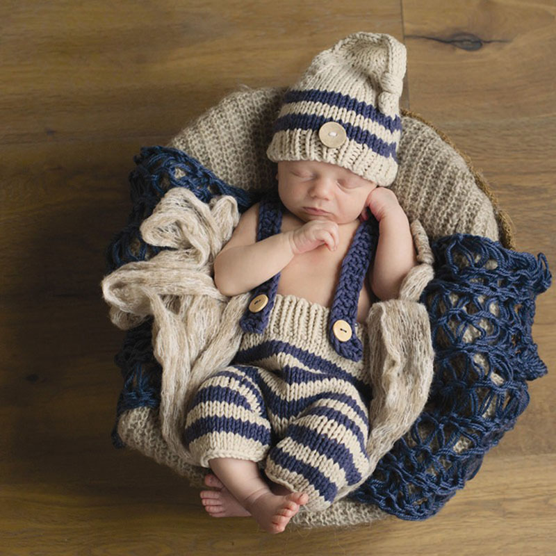 Baby girls boys Photography Props Infant Knit Crochet Costume Striped Soft Outfits knit hat hot newborn girls boys baby photography props outfits knit crochet hat tie pants costume set gifts high quality