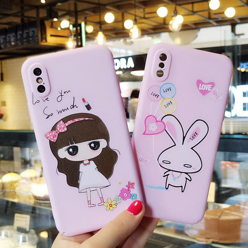 Pink cover For iphone X case kinds pictures cartoon girl bear PC case For apple iphone X / 10 cute rabbit phone fundas
