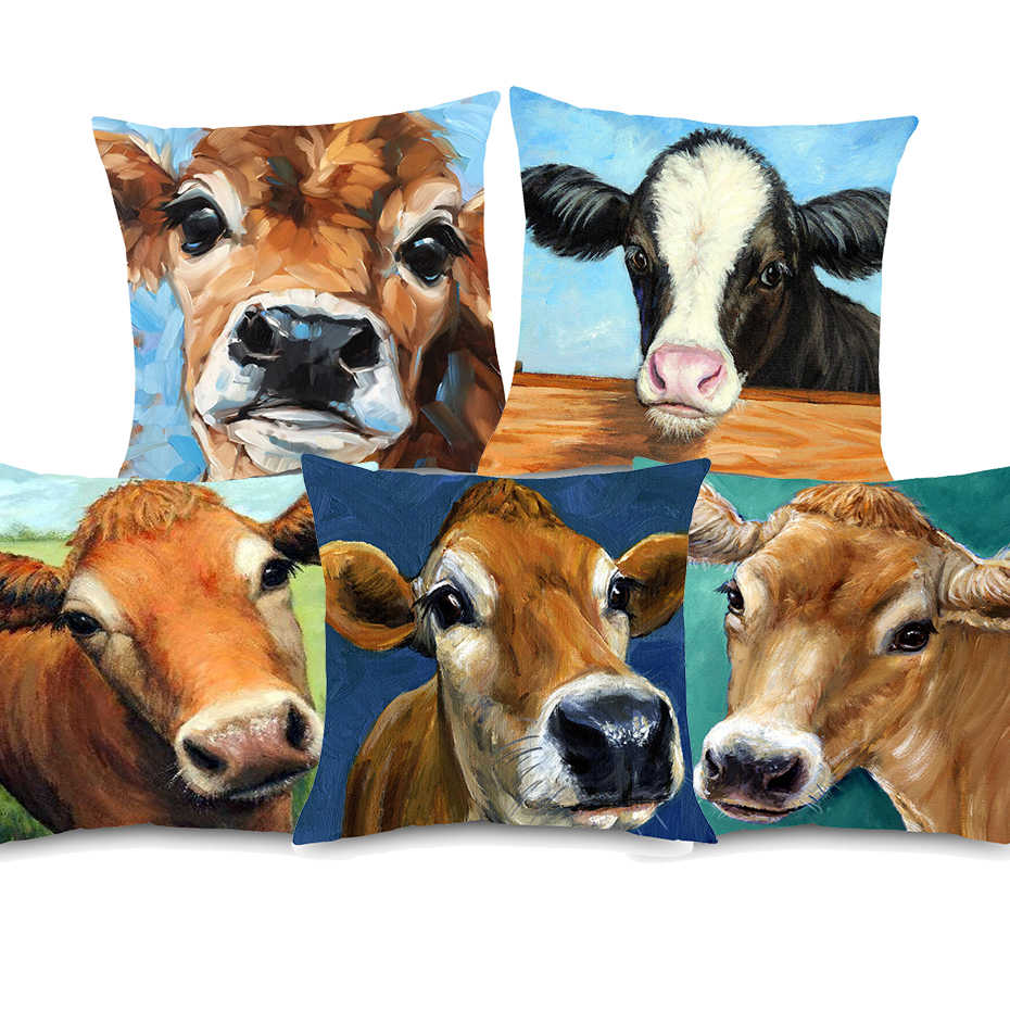 Oil Painting Sweet Jersey Cow Cushion Covers American Farm Wind Domestic  Animal Cows Pillow Cover Decorative Linen Pillowcase