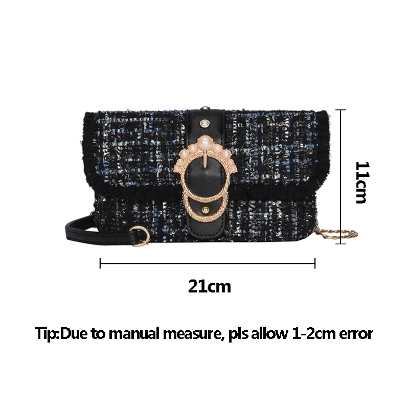 Fashion Women New Knit Flap Shoulder Bag INS Popular Casual Female Tassel Weave Handbag Mini Lady Pearl Chain Crossbody SS3458 (3)