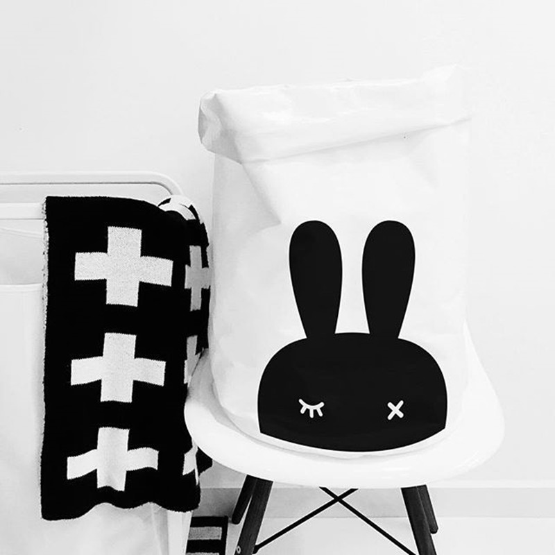 Baby Bedding Set Lovely Rabbit Head Close Eyes Baby Room Receive Bag Folding Stand Cotton Canvas White Debris Bucket Storage Bag
