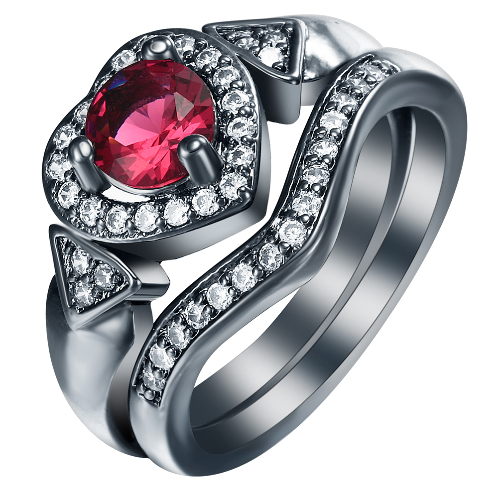 S925Mall New created red cz black Rings Sets for women Heart jewelry gift  elegant princess czech zircon Love Trendy Ring set 592cb012cc