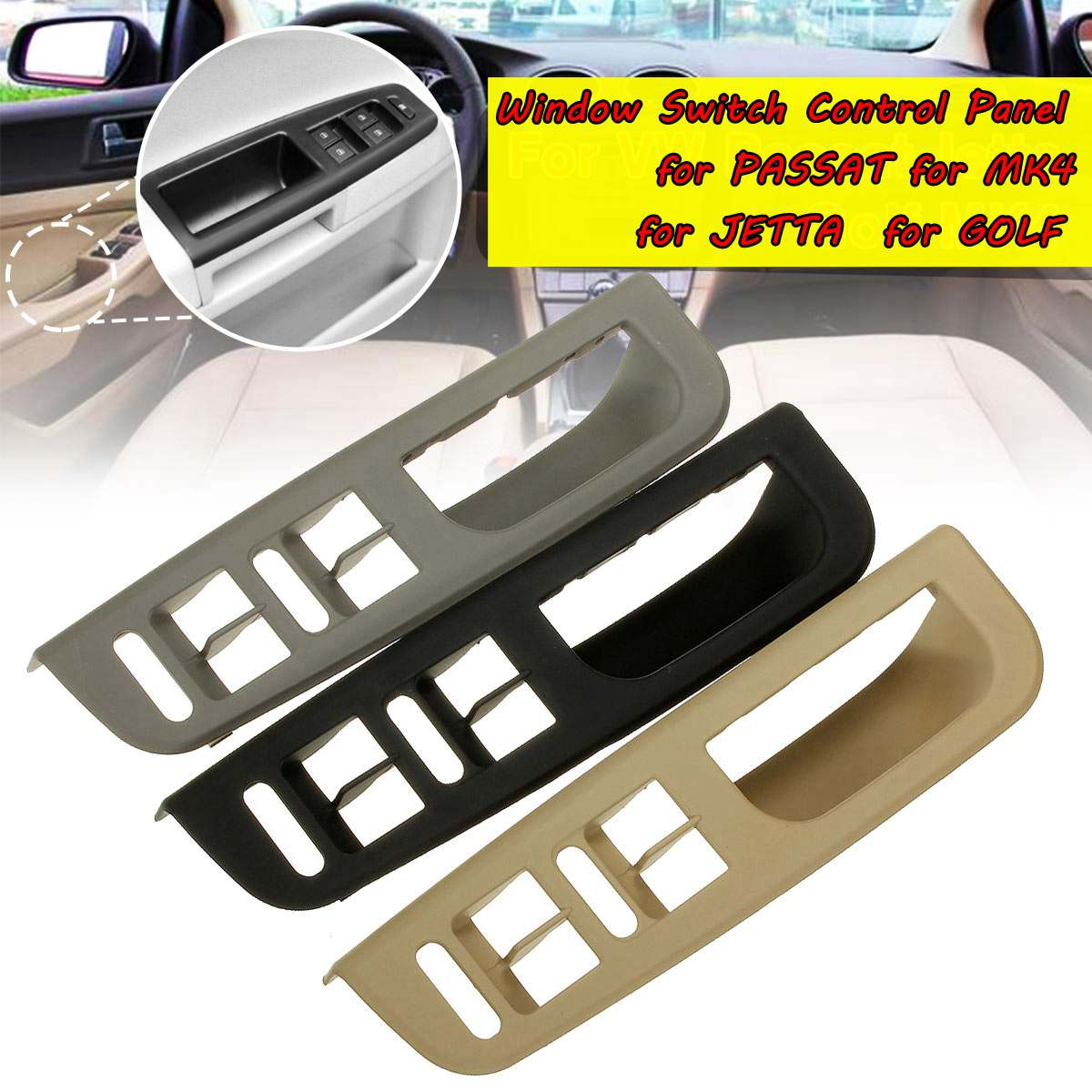 Car-styling New Black Master Window Switch Control Panel Trim Bezel For VW For Passat For Jetta For Golf For MK4