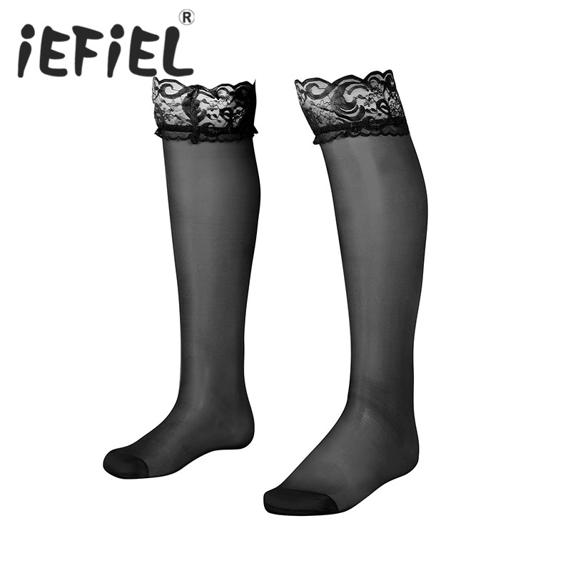 Sexy Mens Lingerie Socks Mesh See through Sheer Floral Lace with Double Silicone Strip Top Anti-slip Thigh High Sissy Stockings