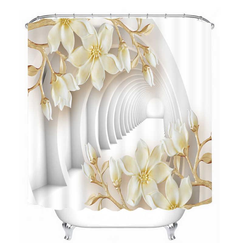ثلاثية الأبعاد زهرة بيضاء فراشة نمط دش الستائر ستارة الحمام مقاوم للماء ستارة حمام سميكة للتخصيص