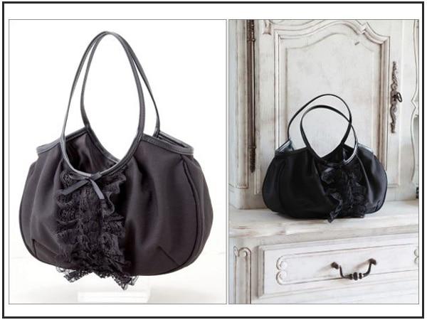 Mz143 Vintage Neo Baroque Y Black Lace Handbag Hobos Shoulder Bag Anese Magazine Gift Free Shipping