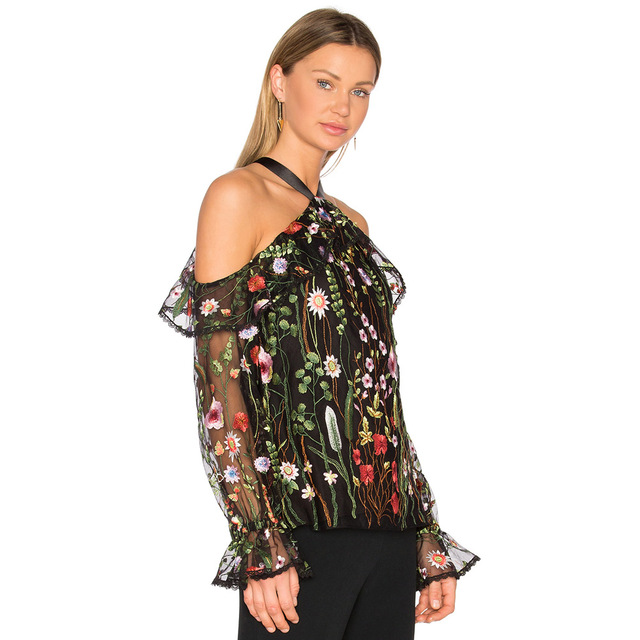 c83df2fc880781 2019 Sexy Women Floral Embroidery Blouse Off Shoulder Tie Halter Sheer Top  Flare Sleeve Transparent See-Through Brand Shirt Top