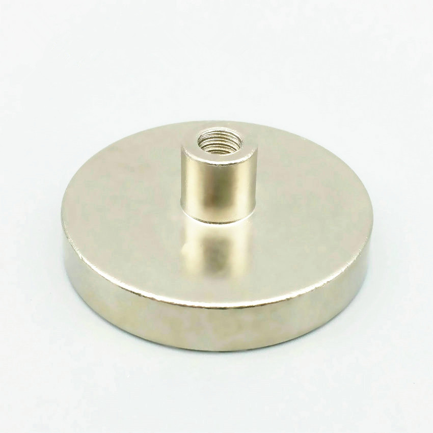1 Pack Cup Mounting Magnet Diameter 32 mm Lathed Magnetic Pots with Female Thread Neodymium Permanent Strong Holding Magnet 1 pack mounting magnet diameter 12 mm clamping pot magnet with steel hook neodymium lifting magnet strong magnet lathed cup