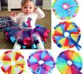 2015 New Girl Skirts Rainbow Stripe Bow Gauze TUTU Skirts Children Clothing 1-9T 305762