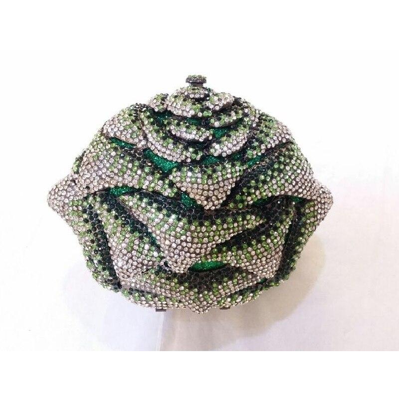 ФОТО 8349GN green Crystal Rose Floral Flower Wedding Bridal Party hollow Metal Evening purse clutch bag case box handbag