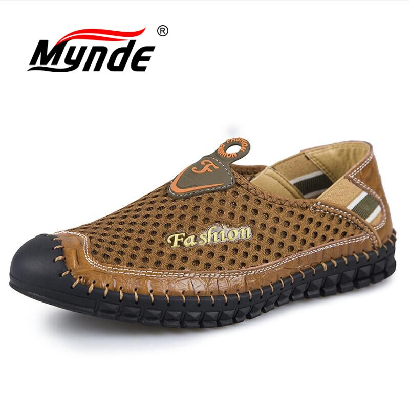 MYNDE Men Shoes 2018 Summer Breathable Mesh Shoes Mens Casual Shoes Genuine Leather Fashion Shoes Man Soft Comfortable Loafers