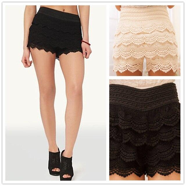 4bf942d57e Fashion Shorts Women New Sweet Cute Womens Crochet Short Tiered Elastic  High Waist Slim Hip White Black Hotpants Plus Size