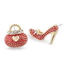 Asymmetric High Heel Shoe Bag Stud Earrings for Women Crystal Rhinestone Lady Girls Earrings 3 Colors E439