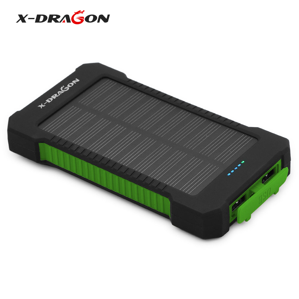 X-DRAGON Power Bank 10000mAh Solar Phone Charger for iPhone 4s 5 5s SE 6 6s 7 7plus 8 X Samsung HTC Huawei Xiaomi OPPO.