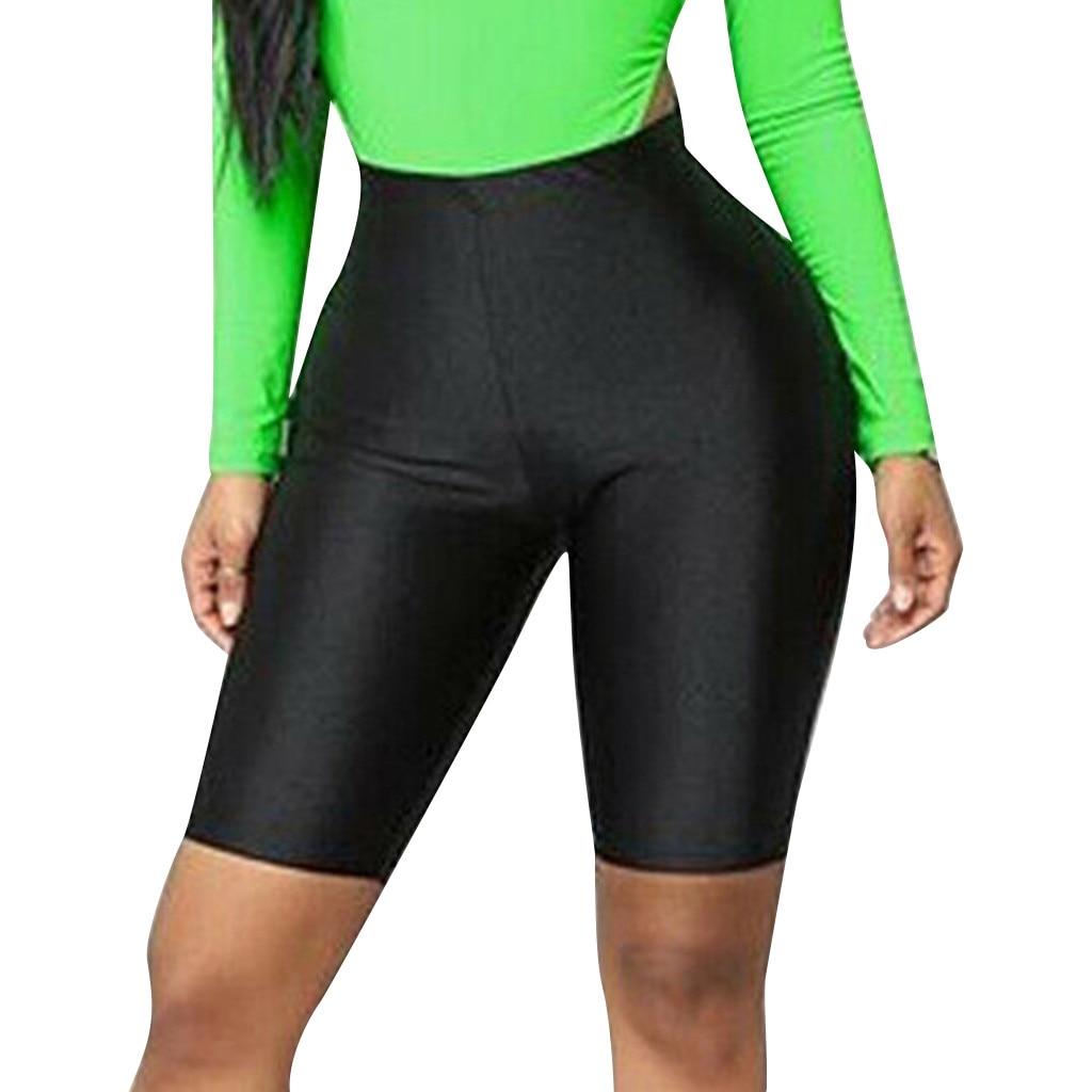Pendek Legging Fashion Wanita Sepeda Kebugaran Elastis Tinggi Pinggang Olahraga Kasual Pendek Kurus Solid D90716 Legging Aliexpress