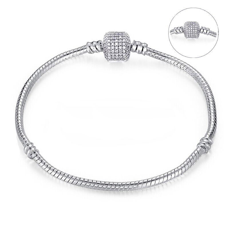BAOPON High Quality Authentic Silver Color Snake Chain Fine Bracelet Fit European Charm Bracelet for Women DIY Jewelry Making 2
