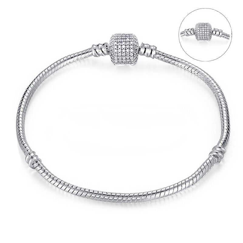 181d29c98 ... BAOPON High Quality Authentic Silver Color Snake Chain Pandora Bracelet  Fit European Charm Bracelet for Women ...