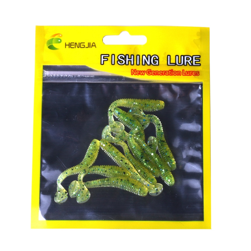 10pcs/set 5cm Artificial Bait T Shape Tail False Worm Shape Plastic Soft Lure Fishing Accessories