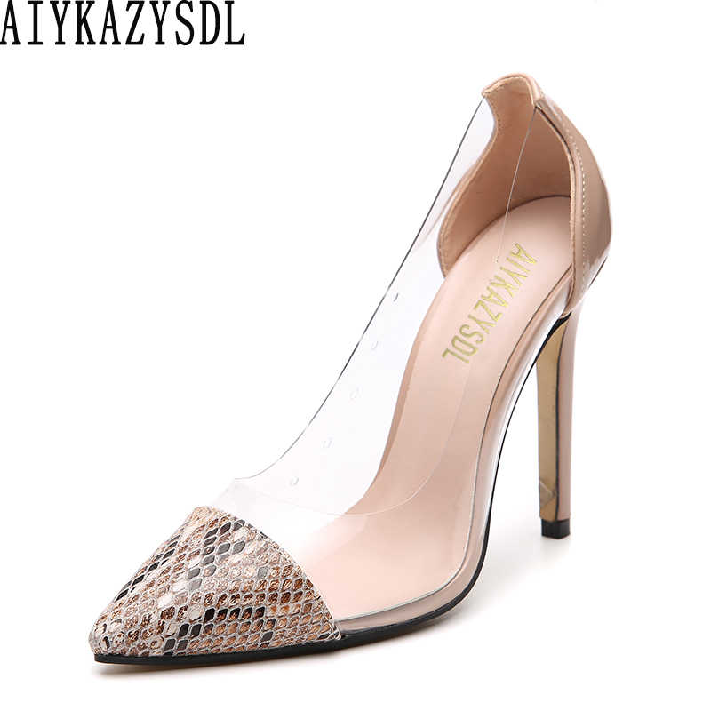AIYKAZYSDL 2019 Women Pumps Spring Summer Clear Transparent High Heel Dress OL Shoes Patchwork Faux Snakeskin Print Court Shoes