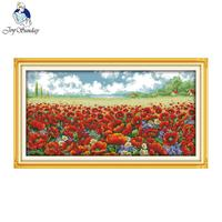 Poppy flowers Counted Printed Cross stitch 11CT14CT DMC Cotton Fabric Cross Stitch Embroidery Thread DIY Hand Made Needlework
