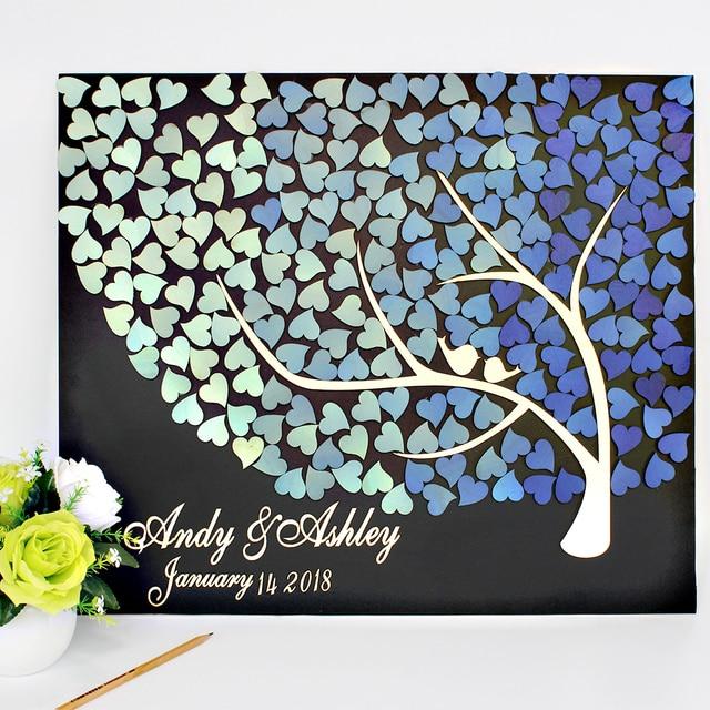 Personalized 3d Wedding Guest Bookblue Gradient Hearts Tree Unique