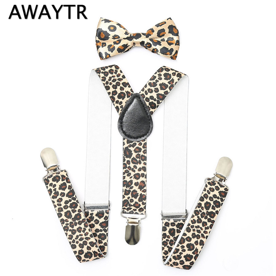 2017 Cute Girls Toddler Print Suspenders Bow Ties Sets Kids Adjustable Unisex Clip-On Leather Leopard Print Boys Suspenders