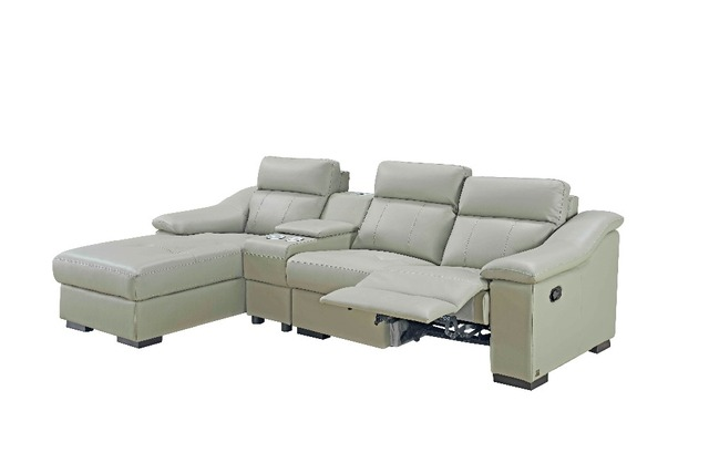 Modern Corner Leather Sofa Cinema With Usb Charge Recliner