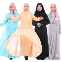 Double Layer Muslim Robe Arabian Ethnic Islamic Dress Chiffon Maxi Abaya Fashionable Islamic Clothing Belted Modern