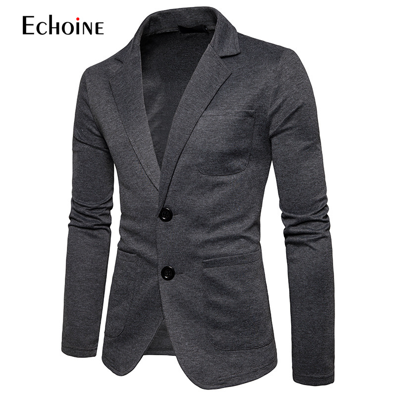 Mens Knitting Suits Blazers 2019 Fashion Casual Slim Fit Button Suit Blazer Jacket Men Terno Masculino 2XL men suit jacket