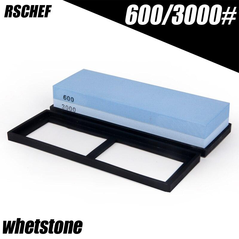 RSCHEF 600/3000 grit whetstone molienda japonés cuchillo afilador afilar piedra aceite afilado Cuchillo piedras agua corindón