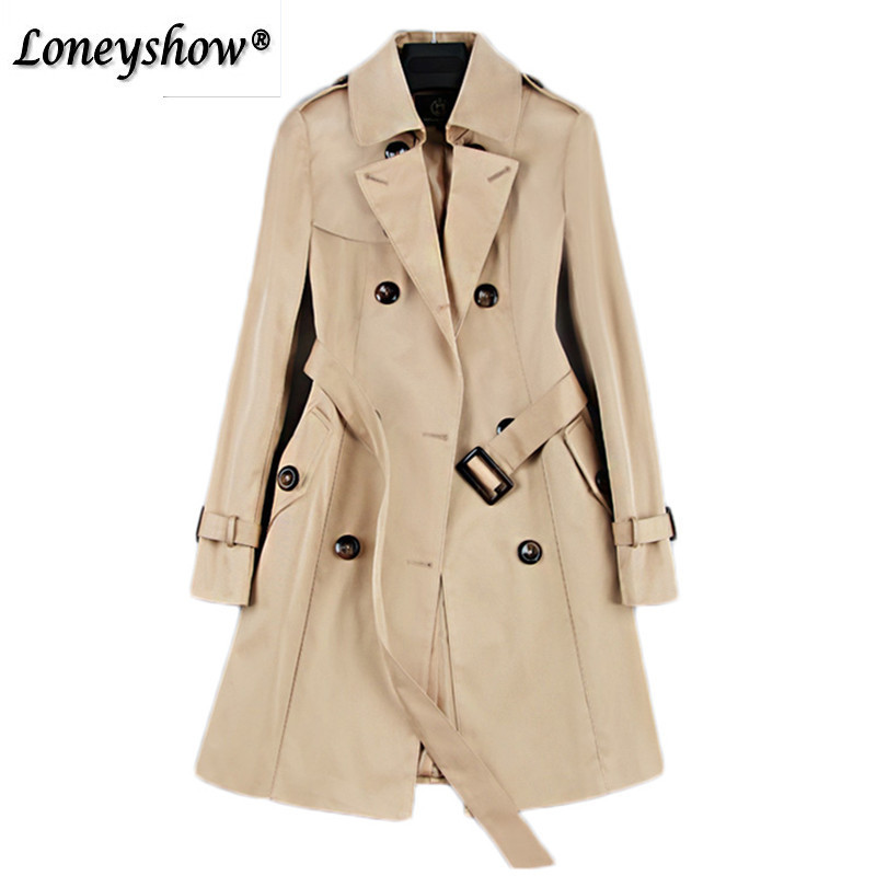 Classic Double Breasted   Trench   Coat for Women's Spring New Fashion Street Adjustable Waist Turn-Down Collar Women Long Outerwear