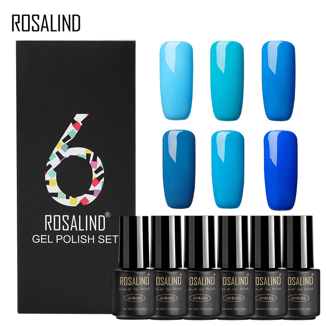 ROSALIND Gel Nail Polish Set 6PCS/Set 7ML Semi Permanent Pure Colors UV LED Soak off Manicure Set Nails Art for Design Nail Kit 2