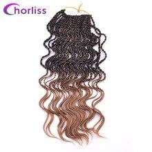 """Chorliss 14 """"вьющиеся Сенегальский крутить Ombre синтетические вязанная косами предварительно поворот Наращивание волос плетением 35 корни/pack 6 пакеты /лот"""