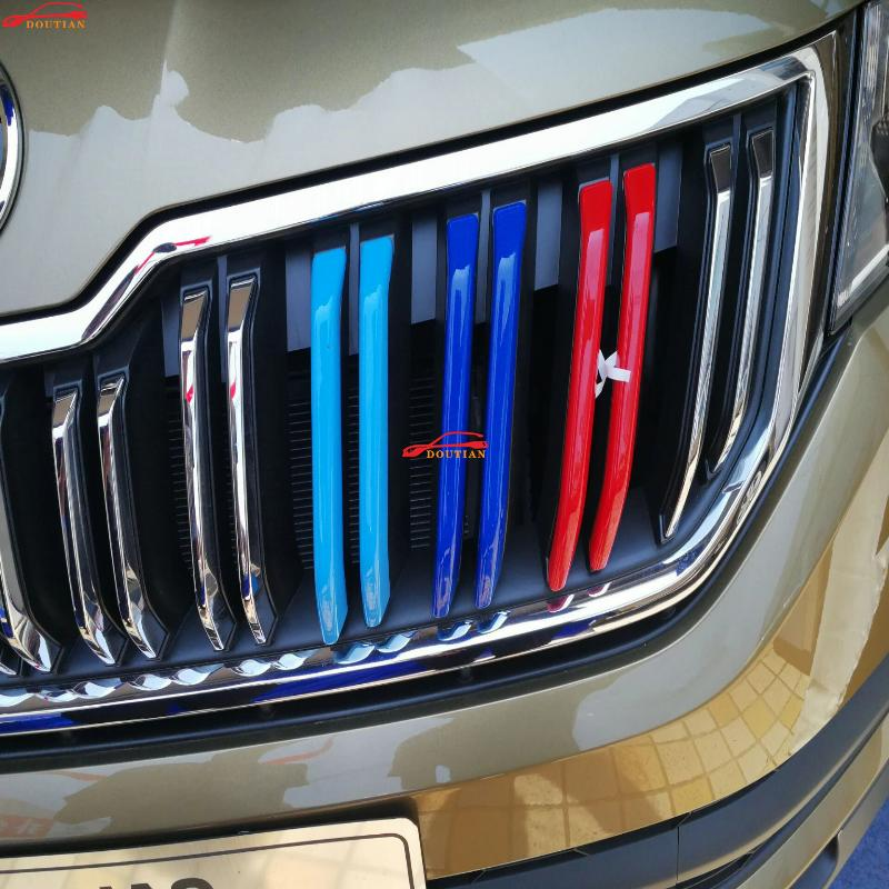 For Car Styling Skoda Kodiaq Accessories 2017 2018 Abs Chrome 3 Colors Front Grille Decoration Trims Grill Trim Car Sticker 6pcs car front bumper mesh grille around trim racing grills 2013 2016 for ford ecosport quality stainless steel