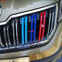For Car Styling Skoda Kodiaq Accessories 2017 2018 Abs Chrome 3 Colors Front Grille Decoration Trims
