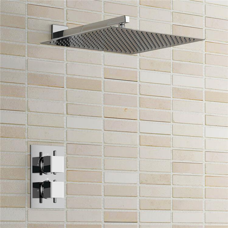 16 Thermostatic Bathroom Shower Set Square Ultra Thin Mixer Shower Head Wall Mounted china sanitary ware chrome wall mount thermostatic water tap water saver thermostatic shower faucet