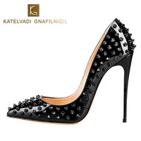 New Women Pumps Pointed Toe High Heels Shoes Luxury Designer Rivets Shoes Wedding Bridal Shoes Women's Shoes With Heels B 0045