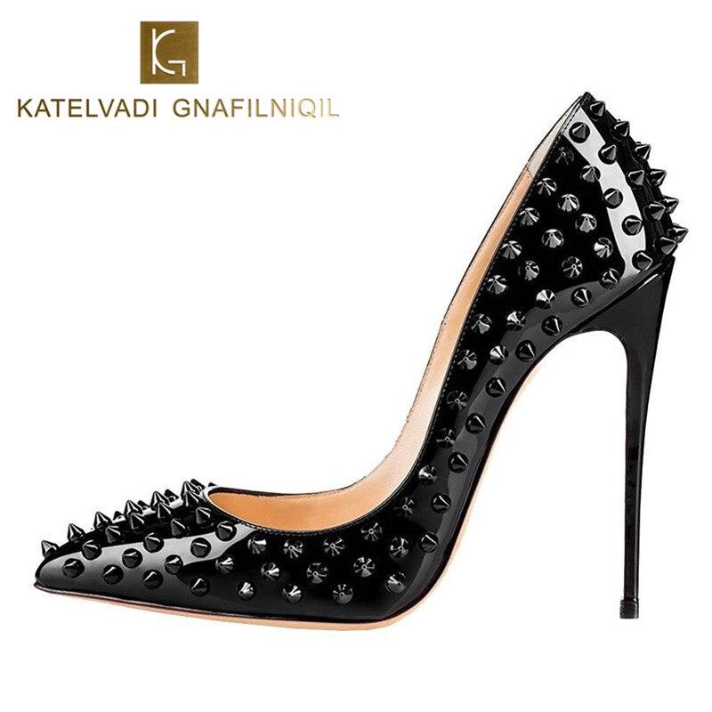Ayakk.'ten Kadın Pompaları'de Yeni Kadın Pompaları Sivri Burun 10CM Yüksek Topuklu Ayakkabı Tasarımcısı Perçinler Ayakkabı Düğün gelin ayakkabıları kadın ayakkabısı Topuklu B 0045'da  Grup 1
