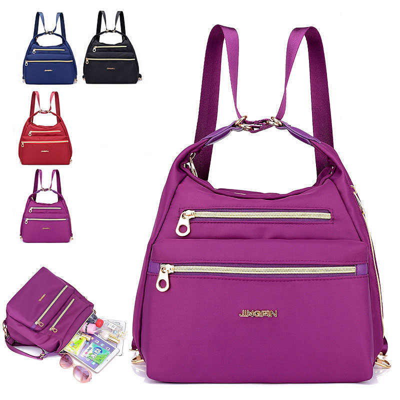 Outdoor Nylon Material Waterproof Women's Small Backpack Multi-function Oblique Cross Bag For Female