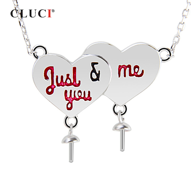 CLUCI JUST YOU AND ME 925 Sterling Silver Women Valentine Gift Jewelry Love Heart Charms Pendant Necklace with Adjustable ChainCLUCI JUST YOU AND ME 925 Sterling Silver Women Valentine Gift Jewelry Love Heart Charms Pendant Necklace with Adjustable Chain