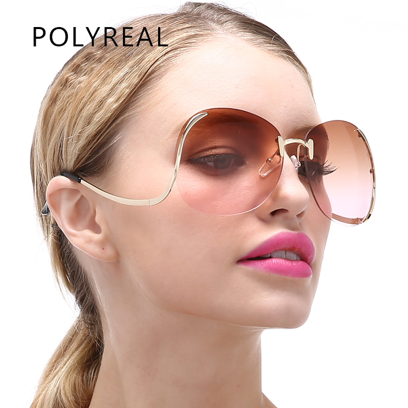 POLYREAL Sunglasses Women Vintage Oversized Rimless Large Transparent Gradient Clear Lens Frame Sun Glasse For Females