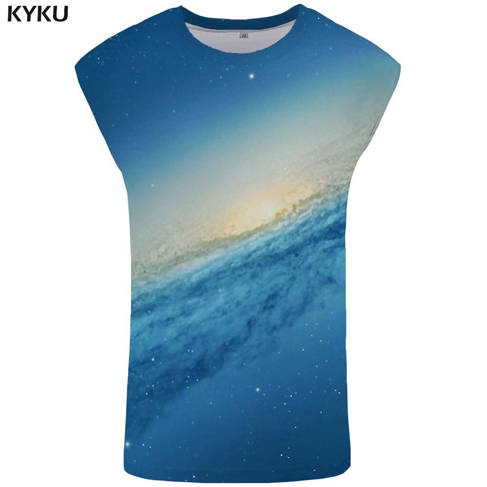 KYKU Brand Galaxy   Tank     Top   Men Space Undershirt Nebula Stringer Harajuku Vest Blue Ftness Clothing Sleeveless Shirt muscle