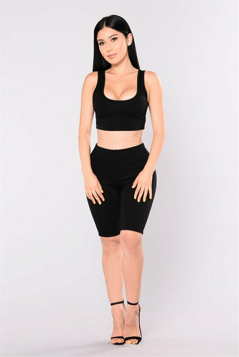Sexy Women Summer Bandage Clothes Sets Ladies  Fitness Clothing Workout Vest Top & High Waist Shorts