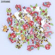 ZOTOONE 50pcs Mix Merry Christmas Sewing Wood button Kids Gift Craft Buttons Decor DIY Scrapbooking E